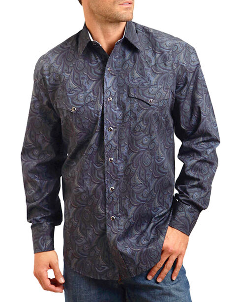 Stetson Men's Smokey Printed Long Sleeve Shirt, Blue, hi-res