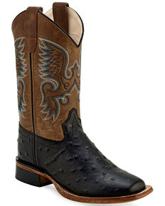 Old West Boys' Ostrich Print Western Boots - Wide Square Toe, Black, hi-res