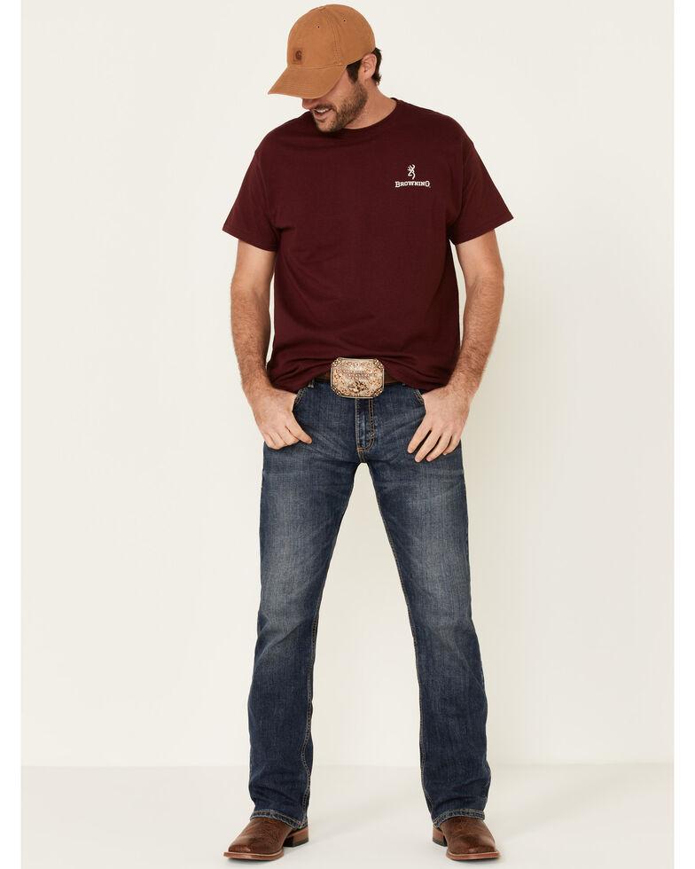 Browning Men's Burgundy Land Of The Free Back Graphic Short Sleeve T-Shirt  , Burgundy, hi-res