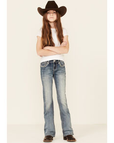 Grace In LA Girls' Medium Wash Embroidered Border Faux Flap Bootcut Jeans , Blue, hi-res