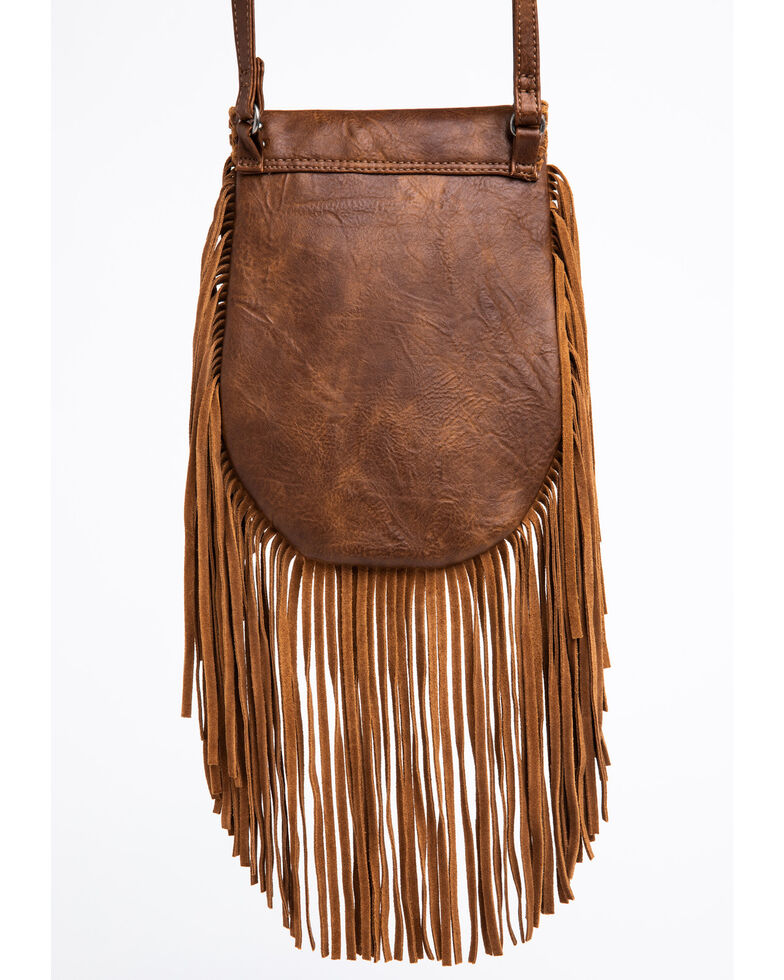 Shyanne Women's Embroidered Boot Stitch Crossbody Bag, Brown, hi-res