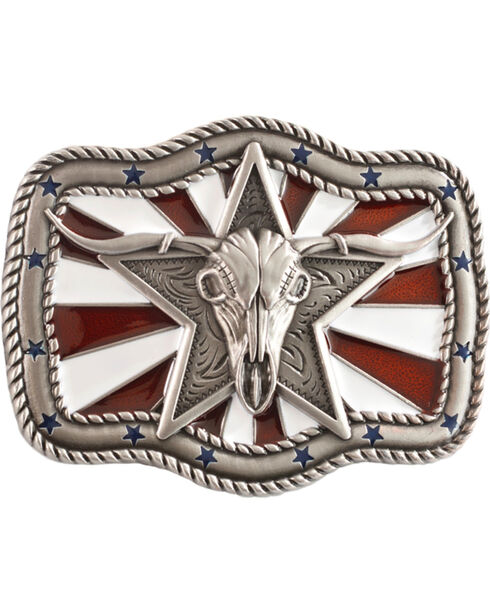 Nocona Patriotic Longhorn Skull Buckle, Silver, hi-res
