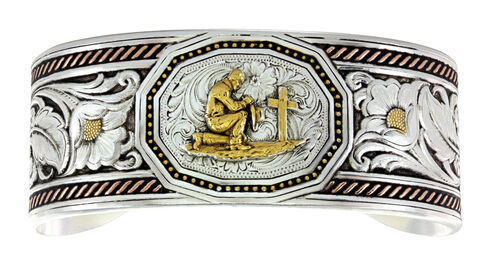 Montana Silversmiths Tri-Color Wide LeatherCut Portrait Cuff Bracelet with Praying Cowboy, Silver, hi-res