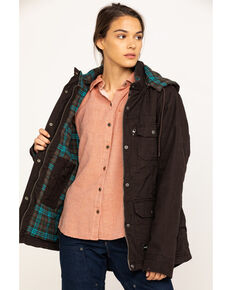 Berne Women's Quilted Flannel-Lined Washed Barn Coat, Dark Brown, hi-res