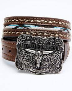 Cody James Boys' Lil Buckaroo Brown Ribbon Belt, Brown, hi-res
