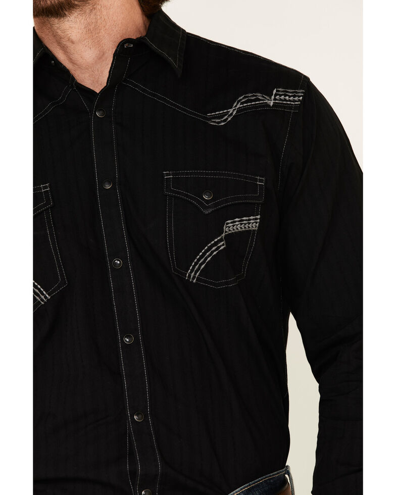 Rock 47 By Wrangler Men's Black Solid Embroidered Long Sleeve Western Shirt , Black, hi-res