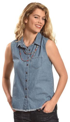 Derek Heart Women's Sleeveless Denim Button Down Shirt, Dark Blue, hi-res