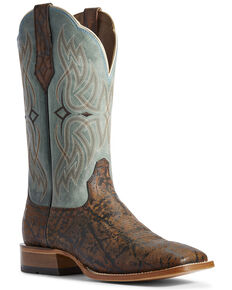 Ariat Men's Bobtail Elephant Print Western Boots - Wide Square Toe, Brown, hi-res