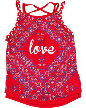 Ransom Girls' Bandana Tank Top, Red, hi-res