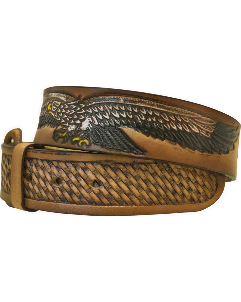Western Express Men's Leather Eagle Belt - Big, Brown, hi-res