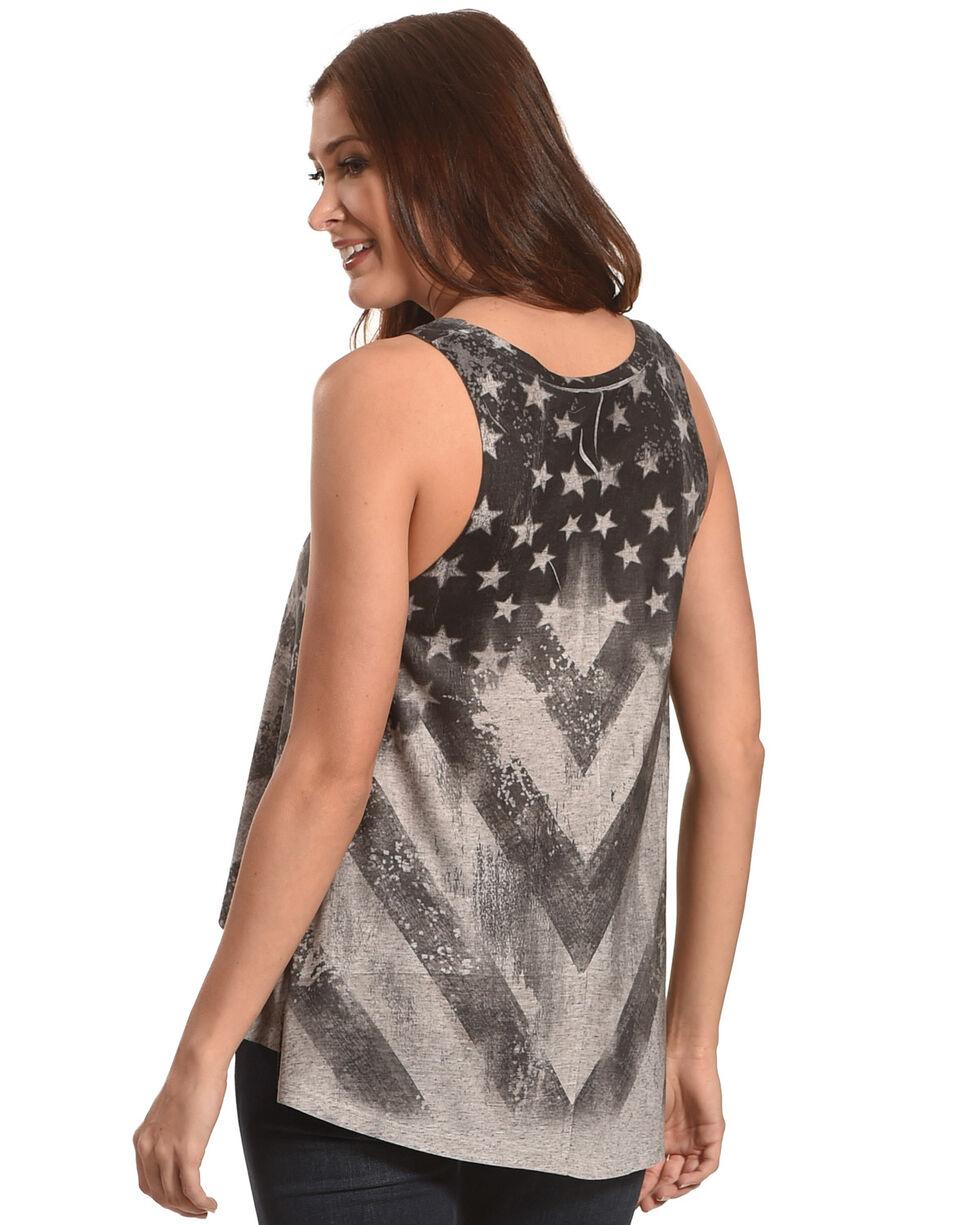 Moa Moa Women's Black Stars and Stripe Flag Tank , , hi-res