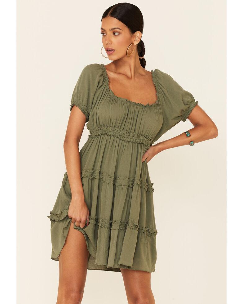 Luna Chix Women's Peasant Tiered Dress, Olive, hi-res