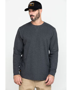 Hawx Men's Grey Solid Asphalt Thermal Long Sleeve Work T-Shirt - Tall, Charcoal, hi-res