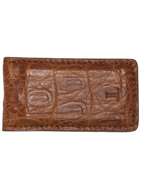 Lucchese Men's Cognac Crocodile Magnetic Money Clip , Cognac, hi-res