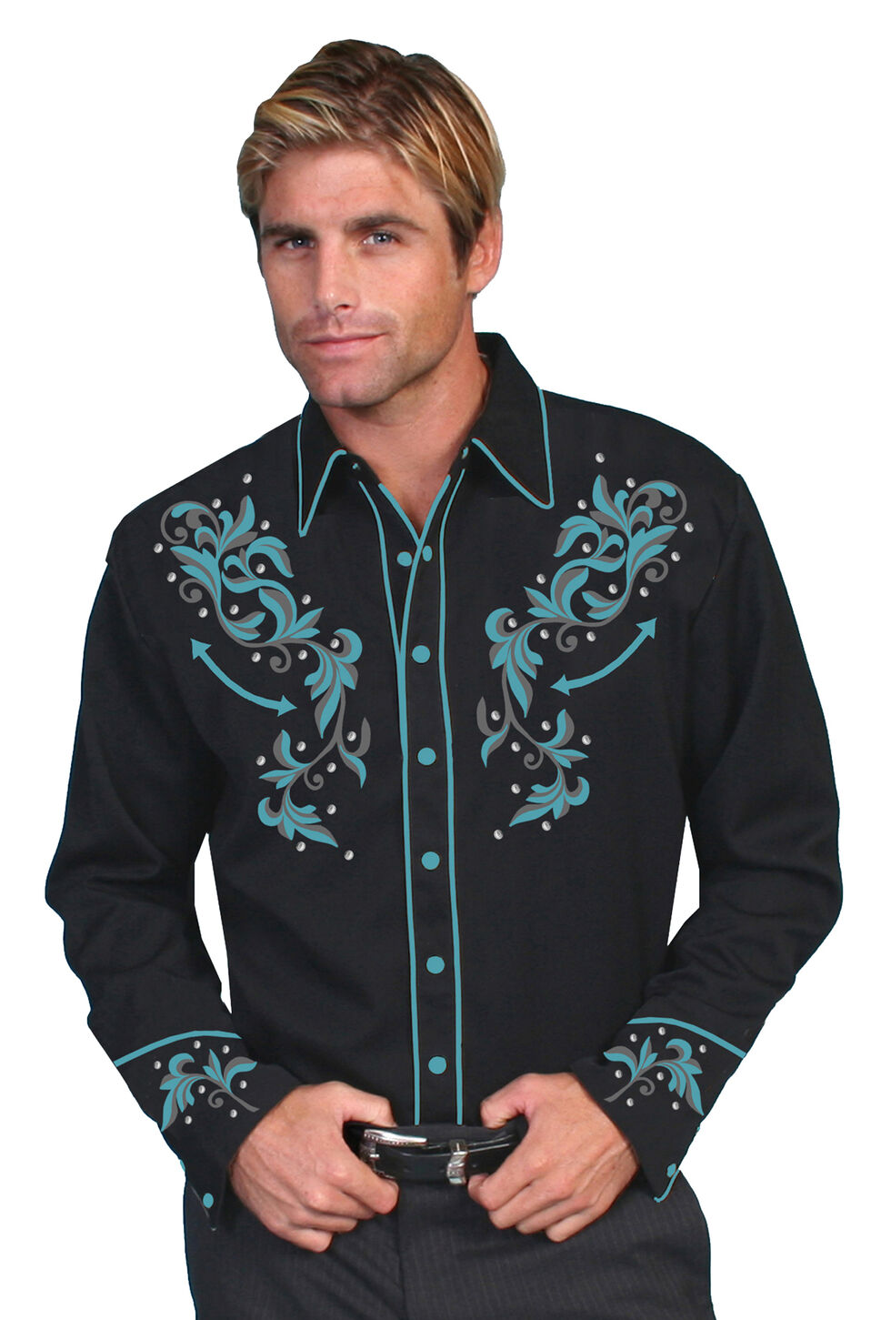 Scully Turquoise Embroidered and Studded Shirt - Big and Tall, Black, hi-res