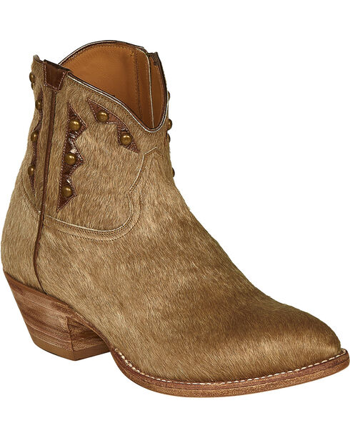 Lucchese Tan Hair-On Calf Demi Cowgirl Booties - Pointed Toe , Natural, hi-res