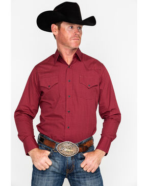 Ely Cattleman Men's Western Woven Ditzy Print Shirt , Burgundy, hi-res