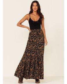 Idyllwind Women's Black Floral Breeze Maxi Skirt , Black, hi-res