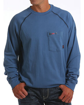 Cinch WRX Men's Blue Long Sleeve FR Raglan Henley Shirt, Blue, hi-res