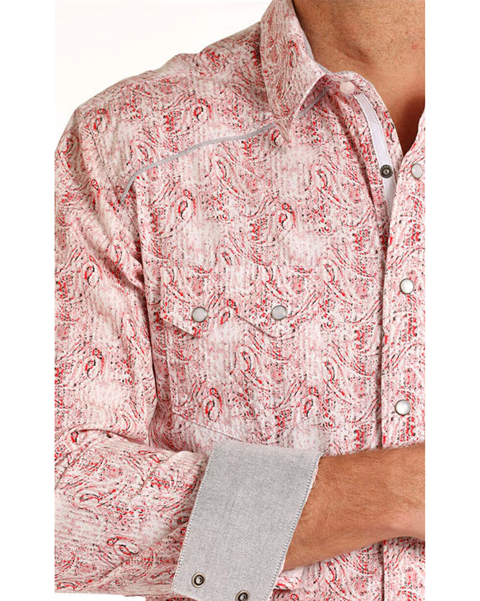 Rock & Roll Cowboy Men's Paisley Long Sleeve Pearl Snap Shirt, Red, hi-res