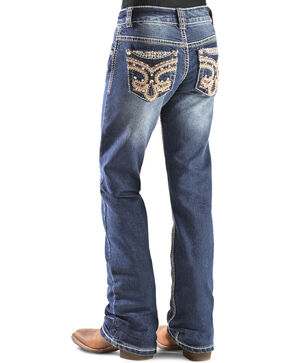 Red Ranch Girls' Fleur de Lis Bootcut Jeans - 7-14, Denim, hi-res