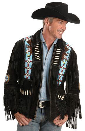 Liberty Wear Men's Bone Fringed Suede Leather Jacket, Black, hi-res