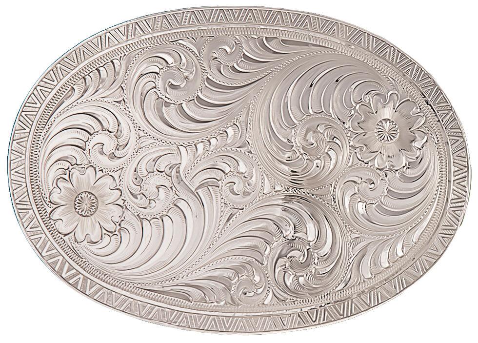 Montana Silversmiths Men's Oval Engraved Western Belt Buckle, Silver, hi-res