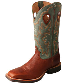 Twisted X Men's Cognac Ruff Stock Western Boots - Wide Square Toe, Cognac, hi-res