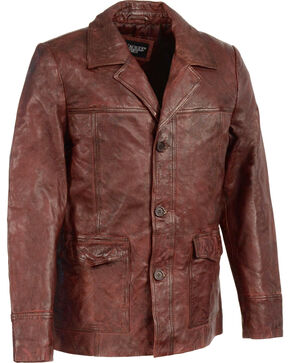 Milwaukee Leather Men's Leather Car Coat Jacket - Big 4X , Red, hi-res