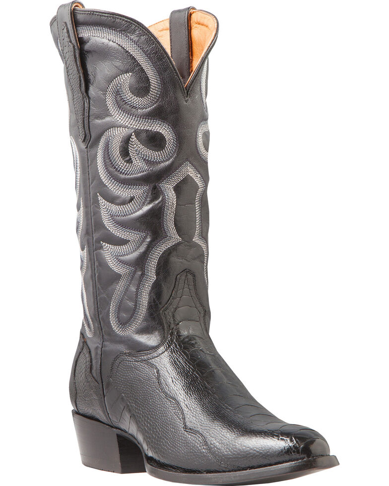 El Dorado Men's Handmade Ostrich Leg Black Western Boots - Medium Toe, Black, hi-res
