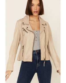 Mauritius Women's Christy Scatter Star Back Leather Jacket , Off White, hi-res