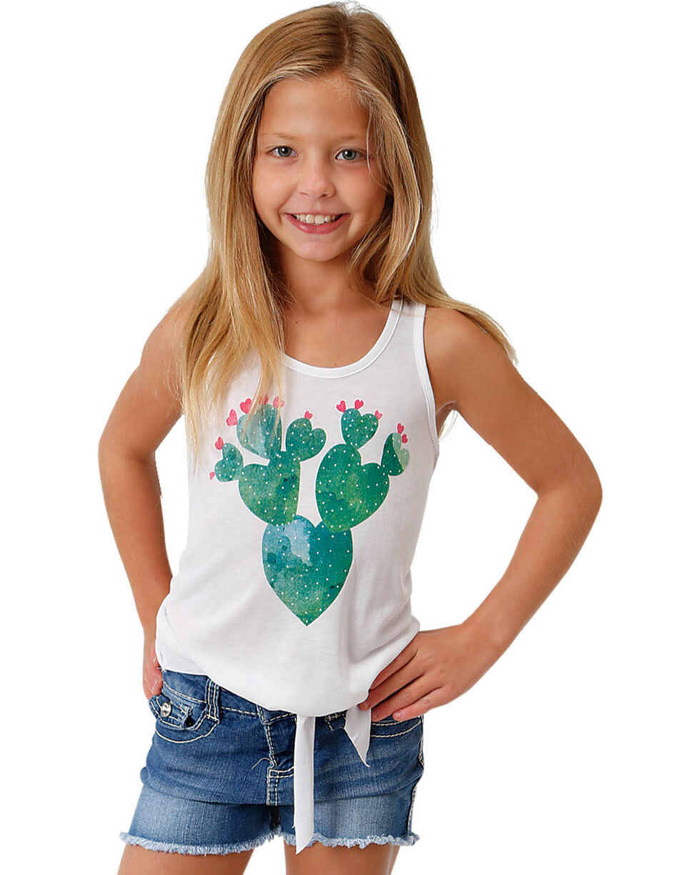Roper Girls' Tie Front Heart Cactus Tank, White, hi-res