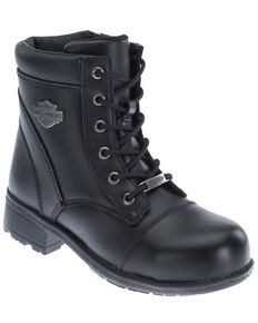 Harley Davidson Women's Raine Moto Boots - Steel Toe, Black, hi-res
