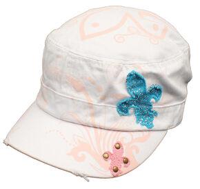 Blazin Roxx Fleur-de-lis Patch Cap, White, hi-res