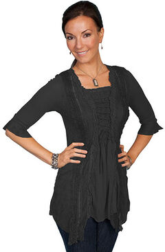 Scully Honey Creek Ruffle Sleeve Lace Top, Black, hi-res