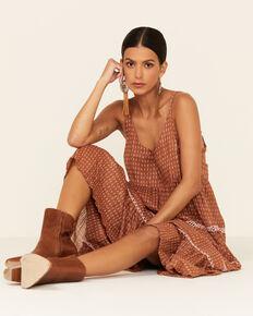 Free People Women's Midnight Dance Print Sleeveless Maxi Dress , Rust Copper, hi-res