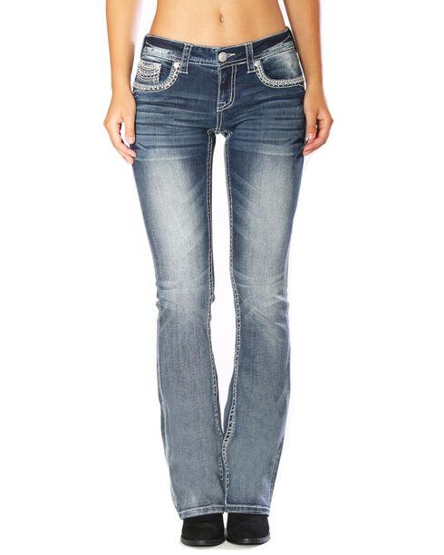 Grace in LA Women's Indigo Ray Embroidered Boot Cut Jeans - Plus , Indigo, hi-res