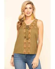 Idyllwind Women's Woodland Embroidered Tank, Olive, hi-res