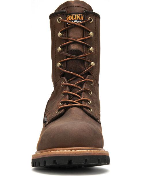 "Carolina Men's Brown 8"" Waterproof Logger Boots - Round Toe, Brown, hi-res"
