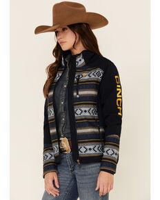 Cinch Women's Aztec Colorblock Bonded Zip-Front Jacket , Navy, hi-res