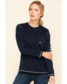 Ariat Women's Navy Rebar Logo Long Sleeve Work Shirt, Navy, hi-res