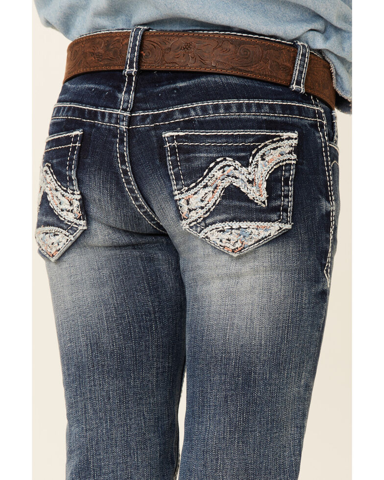Grace In LA Girls' (4-6) Medium Wash Abstract Color Wave Embroidered Stretch Bootcut Jeans, Blue, hi-res