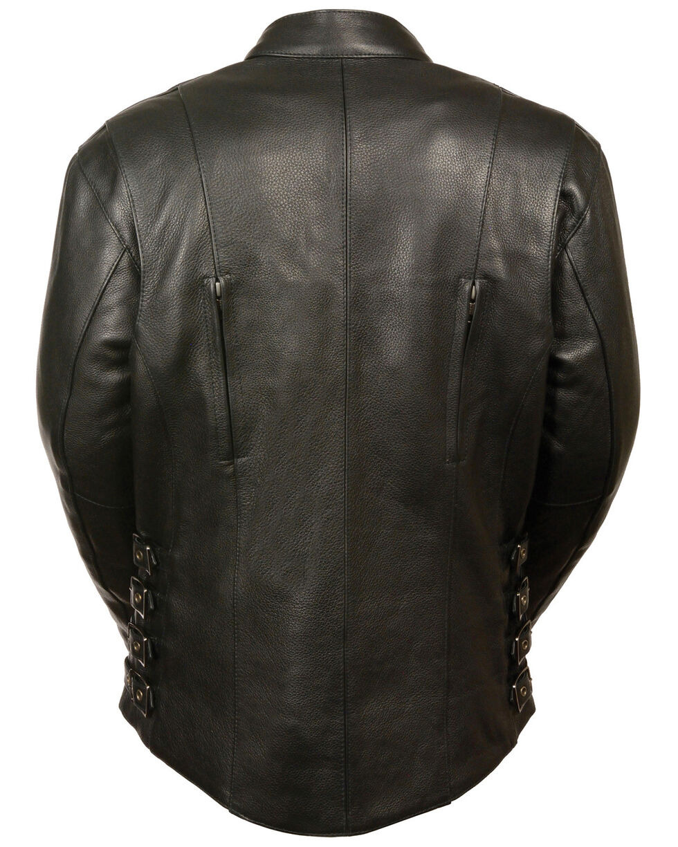 Milwaukee Leather Women's Side Buckle Racer Style Jacket, Black, hi-res