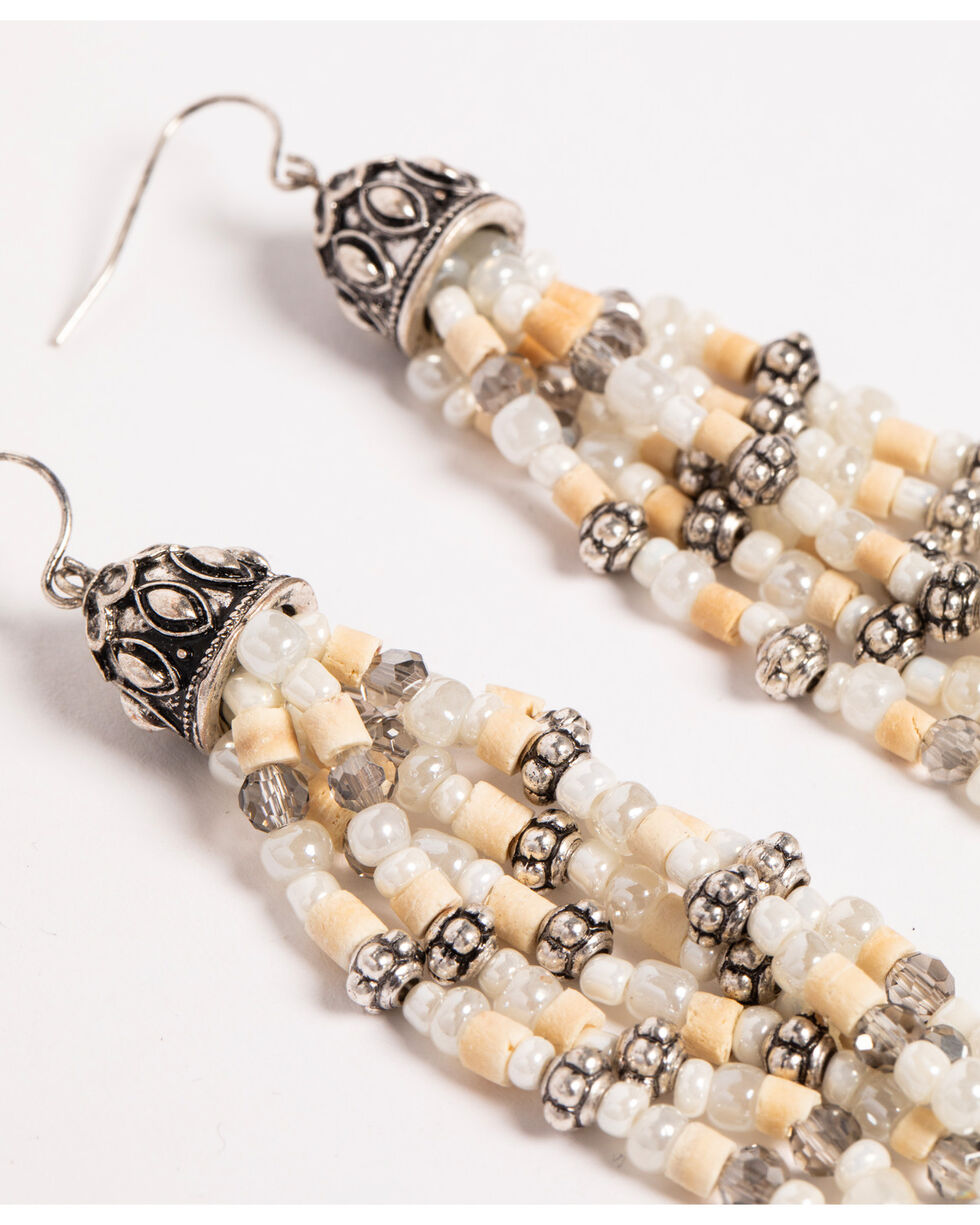 Shyanne Women's Sandstone Bead Tassel Earrings, Sand, hi-res