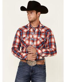Rock & Roll Denim Men's Red Large Yarndye Plaid Long Sleeve Snap Western Shirt , Red, hi-res