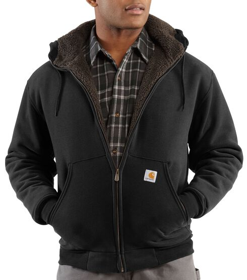 Carhartt Brushed Fleece Sherpa Lined Jacket - Big & Tall, Black, hi-res