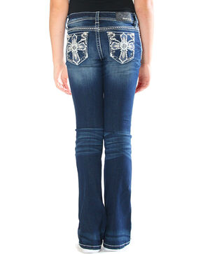 Grace in LA Girls' Blue Cross Embellished Jeans - Boot Cut , Blue, hi-res