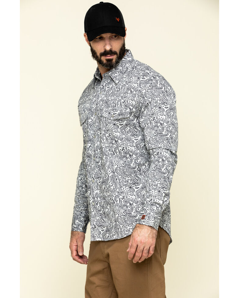 Rock & Roll Denim Men's FR Printed Paisley Twill Long Sleeve Work Shirt , Silver, hi-res