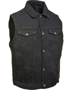 Milwaukee Leather Men's Snap Front Denim Vest w/ Shirt Collar- Big - 3X, Black, hi-res