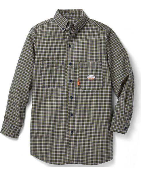 Rasco Men's Green Plaid FR Work Dress Shirt , Green, hi-res
